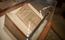 The first edition of the Book of Mormon, printed in 1830, on display in Missouri