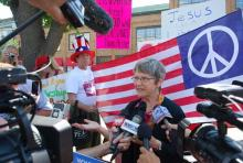 Sr. Simone Campbell talks to the press after meeting with a representative of Re