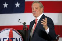 Former New York Gov. George Pataki speaks in Nashua, N.H on April 17, 2015. Imag
