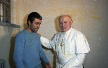 A scan of a negative of Pope John Paul II meeting his would-be assassin, Mehmet