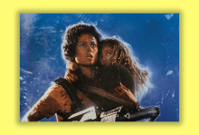"""A scene from """"Aliens"""" in which an adult is carrying a little girl as they look nervously into the distance."""