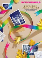 The April cover of Sojourners looks like a scrapbook page with photos from a same-sex marriage, a rainbow ribbon and gold leaves.