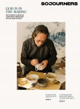The cover of the February 2021 issue features a photo of artist Makoto Fujimura painting a cup.