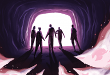 Illustration of a family holding hands, walking out of a cave.