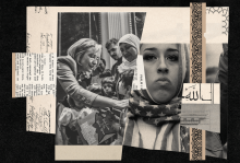 A collage of American iconography and photos of Muslims in America.