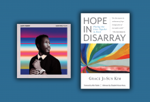 The cover of Cory Henry's album is an outline of him with a colorful rainbow background. The cover of Kim's book features a starburst of color.