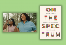 A scene from 'The Trees Remember' where a young Black girl is looking at nature with sunglasses and an older Black woman is standing with her smiling. The cover of 'On the Spectrum' has colorful letters on a white background.