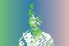Portrait of a young person who is made up of pixels.