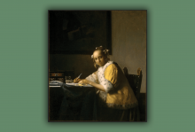 "Vermeer's ""A Lady Writing"" depicts a woman sitting at a desk in a yellow robe writing."