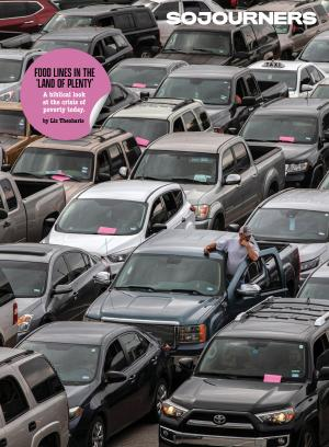 The cover of Sojourners' March 2021 issue features lines of cars at a food bank