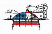 Illustration of a bridge being repaired. The bridge is arched and has the stripes of an American flag.