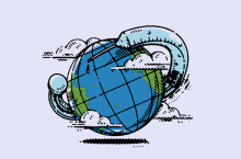 Illustration of a globe with a vaccine vial wrapped around it.