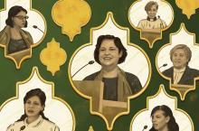 Illustration of Shireen Hilal, Sally Azar, Najla Kassab, Rima Nasrallah, Grace Al-Zoughbi, and Rola Sleiman preaching from different pulpits