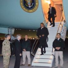 President Obama lands in Afghanistan, Tuesday May 1, 2012