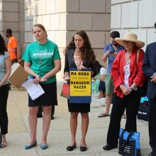 Morning blessing at the EPA. Photo by Ben Sutter / Sojourners