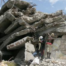 Rubble after the earthquake in 2010. Image courtesy Haiti Partners.