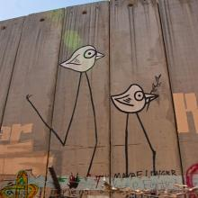 "Graffiti on the ""security wall"" that runs through Bethlehem. Via http://commons."