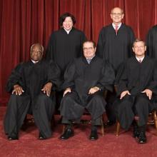 The nine Supreme Court justices, public domain