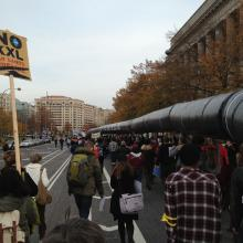 Protestors march to stop the Keystone XL Pipeline. Photo by Scot Degraf