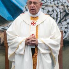 Pope Francis celebrates Mass in Bethlehem on May 25, 2014. Image courtesy Michae