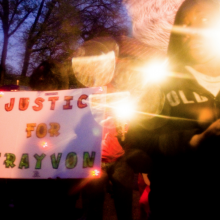 Sign at a rally for Trayvon Martin. Photo courtesy Steven Ley/shutterstock.com