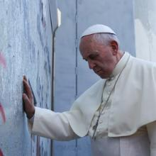 Pope Francis at the Separation Wall, Photo by Mohammad Al-Azza