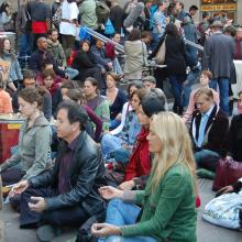 Group meditation in Zuccotti Park, October 2011.  Photo by Cathleen Falsani.