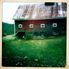 The big red barn on the King family farm in New Hampshire.