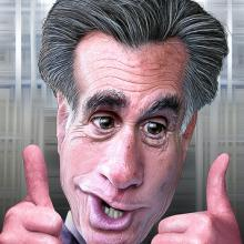 Mitt Romney. Illustration by DonkeyHotey via Wylio