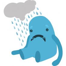 Sad monster illustration, Elena Nayashkova / Shutterstock.com