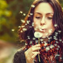 Girl blowing on dandelions, Volodymyr Goinyk / Shutterstock.com