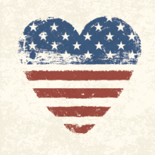 Heart-shaped American flag,  pashabo / Shutterstock.com