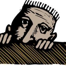 Illustration of boy hiding behind a desk, Ron and Joe / Shutterstock.com
