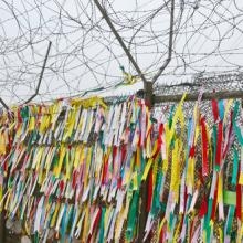 Prayer ribbons hung on the wall in South Korea, meunierd / Shutterstock.com