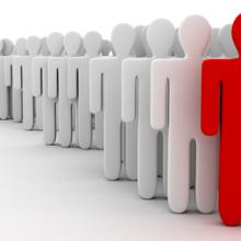 Person standing out in a crowd, © Leigh Prather / Shutterstock.com