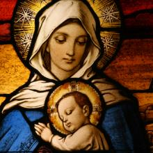 Stained glass Virgin Mary with Jesus, CURAphotography / Shutterstock.com