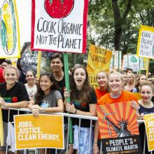 Marchers at the People's Climate March in NYC, September. Image courtesy a katz/