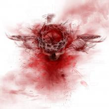 Blood over the image of a cross. Image courtesy Markus Plank/shutterstock.com