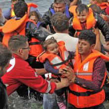Syrian refugees arrive in Lesvos, Greece in October.