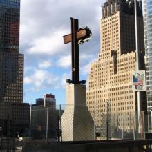 Photo: Steel cross at the 9/11 site. Shawn Kashou / Shutterstock.com