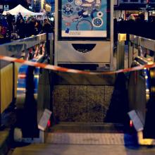 Metro station Bourse is closed after the Brussels terrorist attacks that took place on March 22