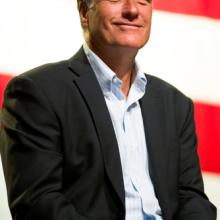 Massachusetts Governor Mitt Romney appears at a town hall meeting on June 4, 201