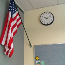 American flag in a school. Photo via RNS/shutterstock.com