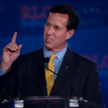 Rick Santorum addresses the Republican Leadership Conference in New Orleans, Jun