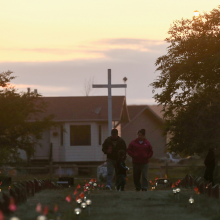 Recently installed solar lights mark burial sites on Cowessess First Nation, where a search had found 751 unmarked graves from the former Marieval Indian Residential School near Grayson, Saskatchewan in Canada on July 6, 2021. REUTERS/Shannon VanRaes