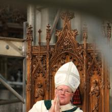 Cardinal Timothy M. Dolan of New York presides at a St. Patrick's Day Mass in 20