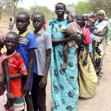 Residents displaced due to the recent fighting between government and rebel forc