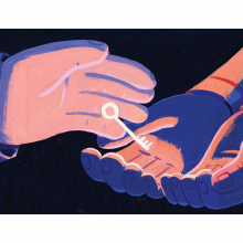 Illustration of a hand holding a key.