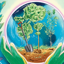 An illustration of hands with gardening gloves holding a globe with a picture of soil and gardening tools in it.