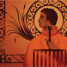 Illustration of a man looking to his side, surrounded by abstract swirls and plants all in an orange hue.